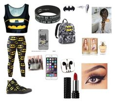 """""""Batman"""" by olivia-huffer on Polyvore featuring Converse, PhunkeeTree and Kat Von D"""