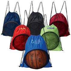 This clever drawstring backpack, made of ultra-lightweight 210 Denier Nylon, has a unique zip around. Front mesh pocket that expands to hold a full-size basketball, soccer ball, volleyball or playground ball. It's spacious interior is large enough to hold a towel, shoes and uniform or change of clothes. The ideal bag for sports teams!