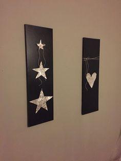 Gjort två tavlor till gästrummet. - svart sprayfärg, aluminiumtejp och snöre!
