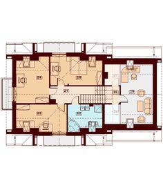 DOM.PL™ - Projekt domu DN KARMELITA GOLD 2M CE - DOM PC1-56 - gotowy koszt budowy House Plans, Floor Plans, House Design, How To Plan, Modern, Gold, Ireland, Thailand, House Ideas
