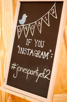 This chalk board is a great way to encourage guests to tag Instagram photos under your hashtag at your wedding