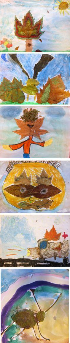 Collages realizados con hojas. Actividad donde el alumno desarrolla la creatividad relacionando las formas de las hojas con animales, insectos, paisajes, objetos... Alumnos en 3º de EP. Colegio Alameda de Osuna.