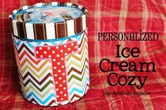 Personalized Ice Cream cozy! Perfect fun gift for the ice cream lover this summer. www.skiptomylou.org