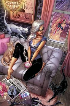 What if J Scott Campbell was allowed to illustrate the entire current Amazing Spider-Man run instead of occasionally some comic covers? (Artist: J Scott Campbell ) & DC Spiderman Black Cat, Spiderman Girl, Black Cat Marvel, Black Cat Comics, Black Cat Art, Black Cat Cosplay, J Scott Campbell, Cat Art Print, San Diego Comic Con