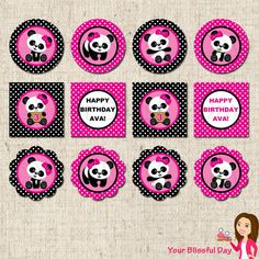 Girls Panda Party Supplies | PRINTABLE Girl Panda Party Circles (Personalized) by Your Blissful Day ...