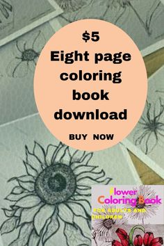 Download this $5 Eight pages of Flower Coloring book for Adults and Kids. Each art is a  drawing/illustration of a specific flower in detail, by miabo enyadike a fine artist whose art illustrations are widely collected.   These are the flowers you will find and color in this adult color book and they include: Aster, Daffodils, Tulips, saffron, Marigold and Sunflowers. Each flower illustration will be downloaded individually once purchased and you can paint your heart out!...
