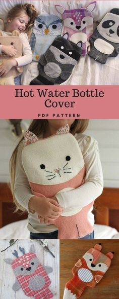 Wild Things Hot Water Bottle Covers - PDF Pattern #hotwaterbottlecover #hotwaterbottlecoverpattern #upcycle #woolenblankets #ad