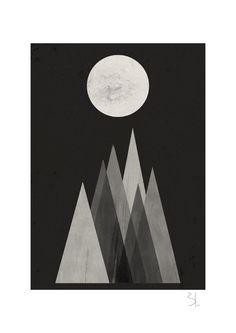 Lunar eclipse print by blancucha on Etsy