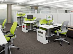 Open Plan workstations with height adjustable desks and personal storage | Details and Answer furniture by @Steelcase