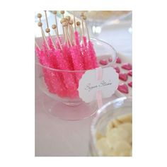Hostess with the Mostess® - Pretty Pink and White Wedding Candy Table found on Polyvore