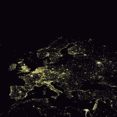 a photo of nightime in europe via satellite. for some reason i feel like i might cry every time i see this.