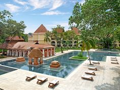 Grand Hyatt Goa, Goa, India, is a lush 28-acre resort with 314 rooms and suites, seven restaurants and bars, a 34,000-square-foot spa, and indoor and outdoor pools.