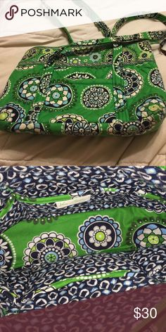 Beautiful green purse One pocket in front 6 pockets inside the purse.  Very nice!  Measure at 11 by 8 Vera Bradley Bags Shoulder Bags