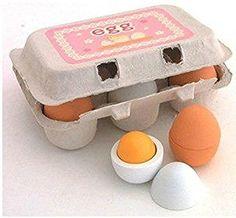 6 Jouez oeufs en bois en carton Jeux de simulation préscolaire jouet éducatif jouets Cuisine alimentaire