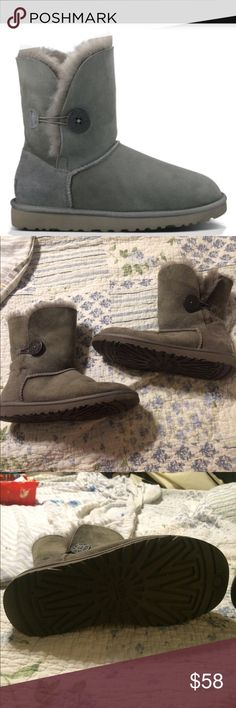 Ugg grey button Bailey boots Excellent quality barely used beautiful boots I wear 6.5/7 and these fit perfectly UGG Shoes