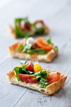 Savory Greens Tomatoes and Goat Cheese Tarts by Tartelette - great for wedding receptions..