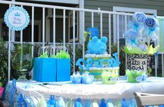 Baby Shower For A Boy Decoration Table With Diaper Cake And Basket Babyshower Diapercake