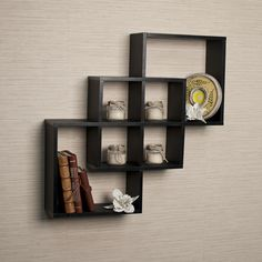 Intersecting Squares Decorative Black Wall Shelf | Overstock.com Shopping - The Best Deals on Accent Pieces