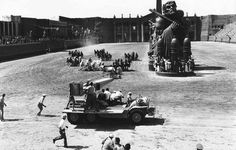 """Andrew Marton and Yakima Canutt shooting the Chariot race in """"Ben- Hur"""""""