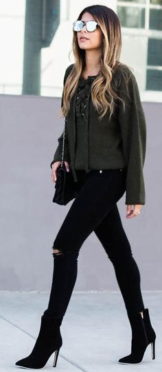 #fall #trending #outfits | Khaki + Black