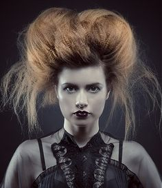 A Long Brown straight frizzy crimped messy avant-garde updo womens hairstyle by Clipso