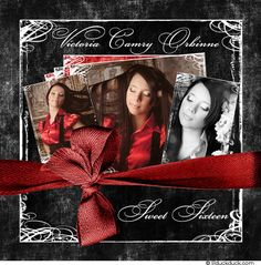 Red & Charcoal Sweet Sixteen Double Sided or Folded Card Stock Invitation Front Design