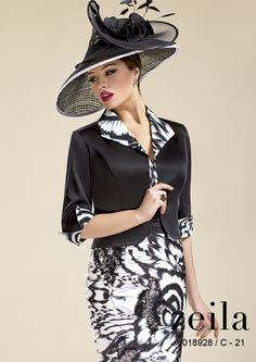 Black & White Zeila Print Mother of the Bride Dress, Jacket & Hat