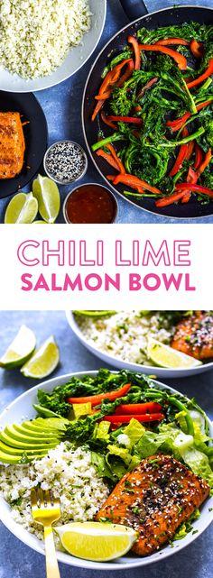 Chili Lime Salmon Bowl Broccoli Rabe Pinterest
