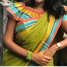 Top Beautiful Saree Blouse Designs - The Handmade Crafts New Saree Blouse Designs, Saree Jacket Designs, Simple Blouse Designs, Stylish Blouse Design, Sari Blouse, Dress Designs, Floral Blouse, Designer Blouse Patterns, Sleeve Designs