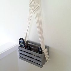 Floating plywood storage Reclaimed wood shelf Rustic home wall storage Housewarming wood basket Modern Macrame Beach house decor Father gift  For your rustic home decor this modern macrame floating wood storage. This Hanging shelf box made with heavy cotton twine and grey color wooden box. Get your creativity and put what you might need - Use it as a storage for your electronic devices - use it in your nursery - use it for your books - use it as a decorative floral arrangement and use…