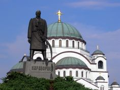 Serbia Temple of Saint Sava and monument of Karađorđe