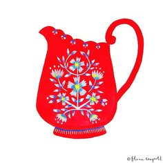In between projects and prep for Surtex, I've just gotta run away for a moment and paint / draw something just for me. I really felt like painting a red jug today. I think I am going to turn it in to a pattern with some other bits but for now, here it is, just a little red jug ❤️ #illustration #paint #painting #sketch #drawing #red #kitchen #jug