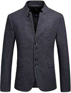 online shopping for Mandarin Collar Blazer Jacket Men Smart Casual Wool Tweed Sports Jackets Slim Fit from top store. See new offer for Mandarin Collar Blazer Jacket Men Smart Casual Wool Tweed Sports Jackets Slim Fit Stylish Mens Fashion, Big Men Fashion, Fashion Trends, Blazer Fashion, Suit Fashion, Fashion Hats, Oversized Fashion, Mandarin Collar Jacket, Slim Fit Dress Pants