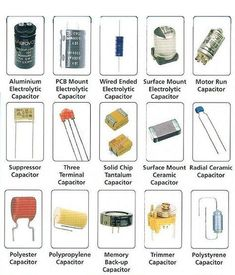 Various capacitors and their specifications