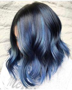 Black and Blue Lob by Beautiful work Iris! Beautiful Hair Color, Cool Hair Color, Hair Colors, Hair Dye Shades, Pulp Riot Hair Color, Fantasy Hair, Dye My Hair, Hair Painting, Hair Inspiration