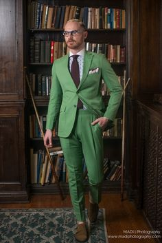 Classy green suit in our olive Monkstrap shoes  Model: Tristan