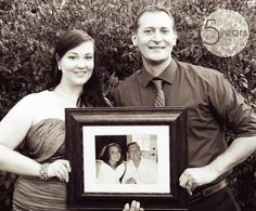 DONE! Idea seen on Pinterest - we took a photo for our 5 year anniversary with a photo from our wedding. Bring on the next 5 years! We'll keep this tradition going!
