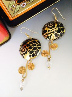 Up-cycled black and gold drop earrings