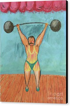 Weightlifting Canvas Print featuring the painting Johnny Maciste by Grigorios Moraitis