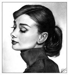 charcoal drawings - Neat picture of audry