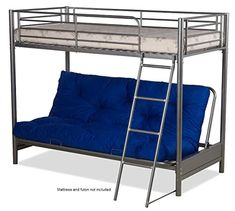 FUTON BUNK BED (FRAME ONLY) IN SILVER METAL FINISH – Prima Furniture