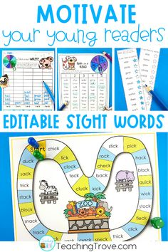 Create motivating and hands-on centers or stations for your kindergarten or first grade students. With 38 different themes in this pack, you will have a wide range of sight word, phonics, spelling or word work games, worksheets and playdough mats you can create in seconds! Use the included assessment sheets to monitor the progress of your students. Easily create a differentiated program in your classroom.#sightwords #sightwordactivities