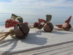 Cranberry and Sage Rusty Jingle Bell by RagWreathBoutique on Etsy