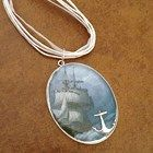 Pirate ship silver pendant with inlay anchor on ribbon cord
