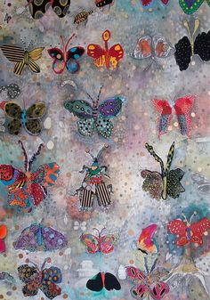 Range of images/drawings of butterflies which show how people have used different media for the surfaces.
