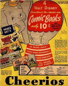 Cheerios cereal (back of the box) Disney's Dumbo c. Cheerios Cereal, Kids Cereal, Cereal Boxes, Vintage Box, Vintage Ephemera, Cereal Killer, Delivering A Baby, Ice Cream Candy, Ol Days