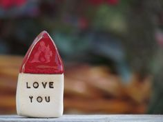 Love you  house  - Message houses Miniature houses  Little rustic houses Red house Valentine gift, Wedding reception by orlydesign on Etsy https://www.etsy.com/listing/90193125/love-you-house-message-houses-miniature