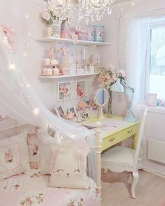 Another pic of my room~a more recent one🌸 I'm working on decorating new spaces atm! Haha you are the only ones that likes my room! My family is like.hmm haha well yeah😳😆 when they see it.☺️ It makes me so glad to share it here with you💕💕💕 Cute Room Ideas, Cute Room Decor, Pastel Room, Pink Room, Room Ideas Bedroom, Bedroom Decor, Inspiration Room, Kawaii Bedroom, Otaku Room