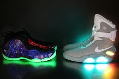Nike Galaxy Foamposites and Nike Air Mag Nike Air Mag, Nike Air Shoes, Sneakers Nike, Shoes Jordans, Sneakers Women, Mens Fashion Shoes, Sport Fashion, Nike Galaxy, Best Looking Shoes