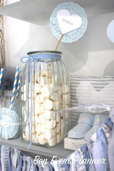Marshmallows at a shabby chic baptism party! See more party planning ideas at CatchMyParty.com!